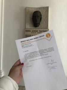Офіційне підтвердження про прийняття на навчання у провідний університет Словаччини- Університет Павла Йозефа Шафарика